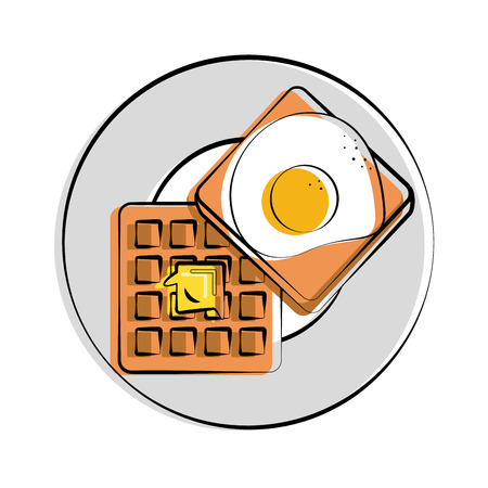 butter knife: fried egg waffle with butter melting on it food related image vector illustration design