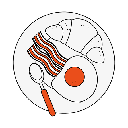 Bread and egg breakfast icon vector illustration graphic design