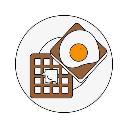 Waffles with egg breakfast icon vector illustration graphic design