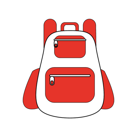 school backpack icon image vector illustration design  orange and white Illustration