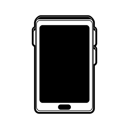 smartphone with blank screen icon image vector illustration design  black and white