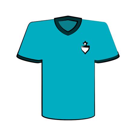 Camisa azul con emblema en la ilustración del vector del icono del diseño de la imagen del pecho Foto de archivo - 86909310