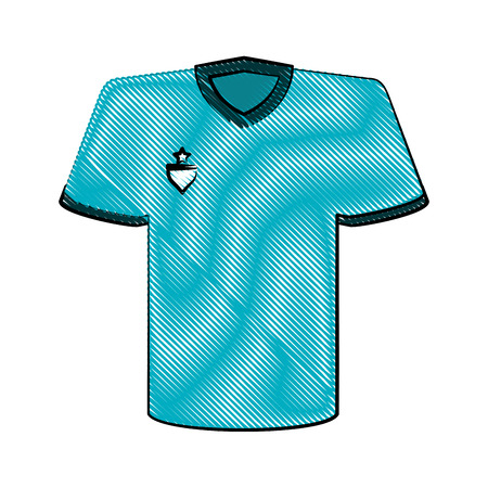 blue shirt with emblem on chest icon image vector illustration design