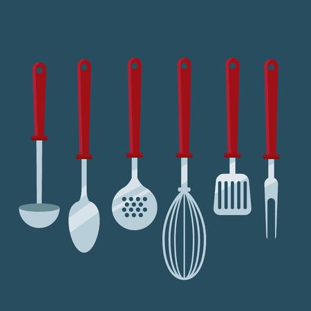Kitchen cooking utensils icon vector illustration graphic design