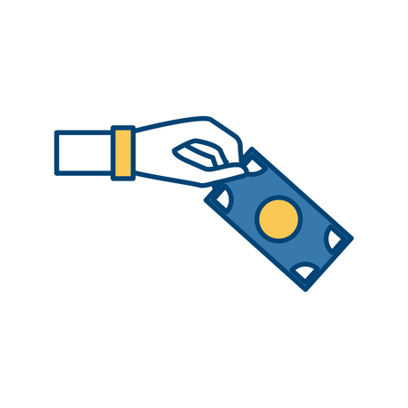 Hand with Money billet isolated icon vector illustration graphic design