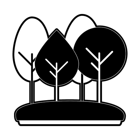forest trees icon image vector illustration design  black and white