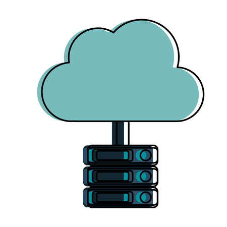 cloud storage with servers and computer icon image vector illustration design