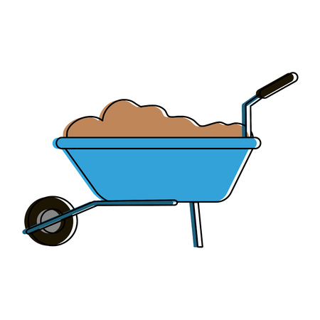 wheelbarrow with construction material tool icon image vector illustration design
