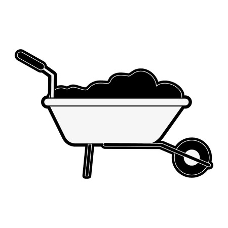 wheelbarrow with construction material tool icon image vector illustration design  black and white