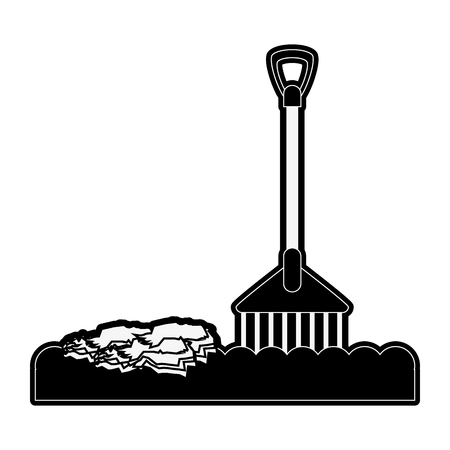 rake with soil and plant tool icon image vector illustration design  black and white Illustration