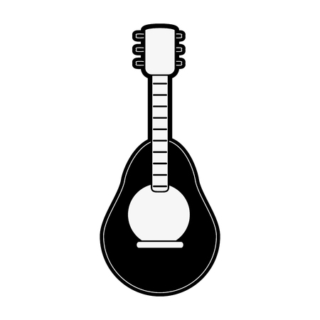 guitar music instrument icon image vector illustration design  black and white Illustration