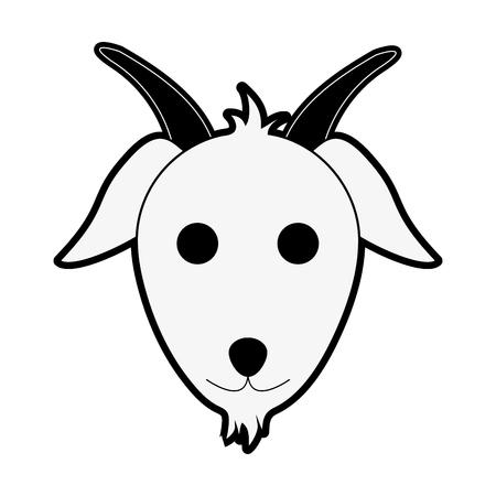 goat animal face cartoon icon image vector illustration design  black and white Illustration
