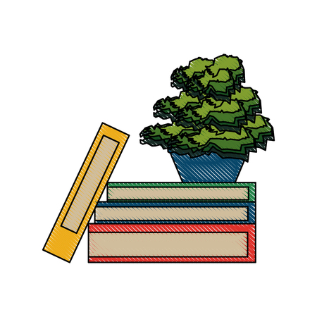 digital library: books with plant icon image vector illustration design