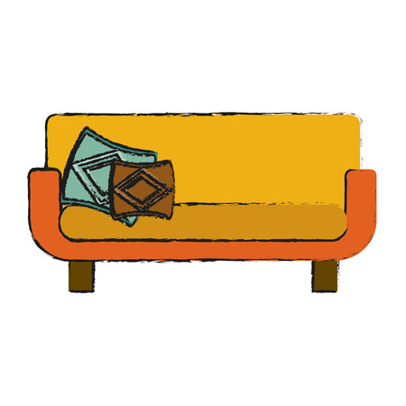 sofa with wooden legs furniture icon image vector illustration design Illustration