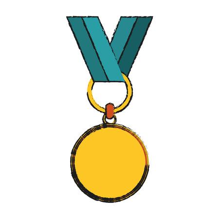 rosette gold medal icon image vector illustration design