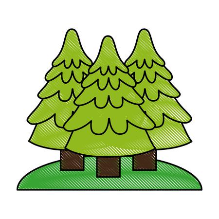 wilderness area: forest trees hill icon image vector illustration design Illustration