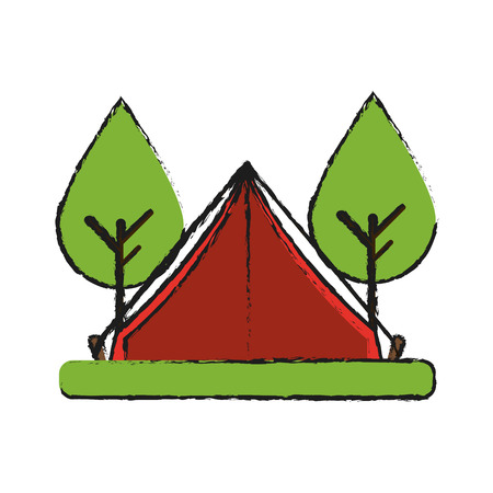 camping tent surrounded by trees icon image vector illustration design Illustration