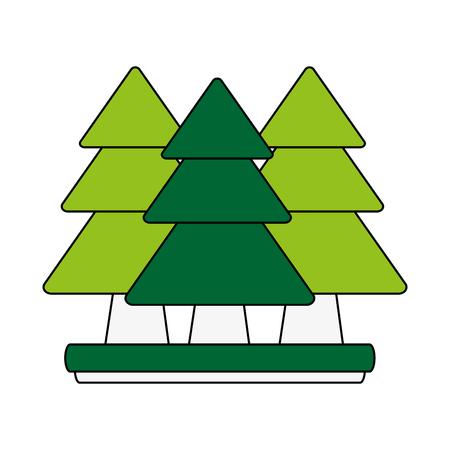 forest trees hill icon image vector illustration design Illustration
