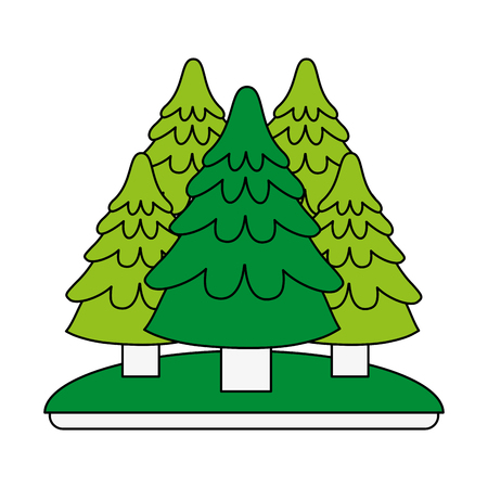 forest trees hill icon image vector illustration design Illustration
