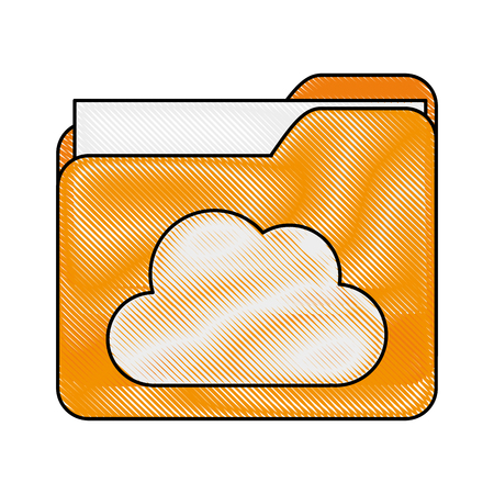 file folder with cloud storage icon image vector illustration design