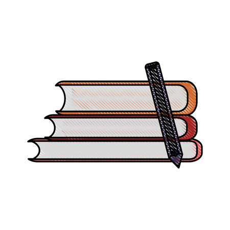 digital library: books pile icon image vector illustration design