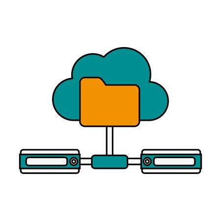 file folder connected to servers icon image vector illustration design Illustration