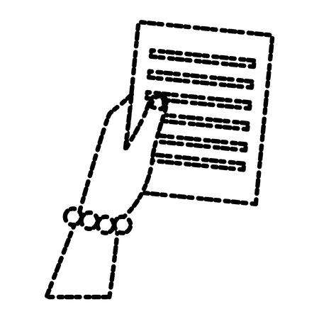 Hand holding document icon vector illustration graphic design
