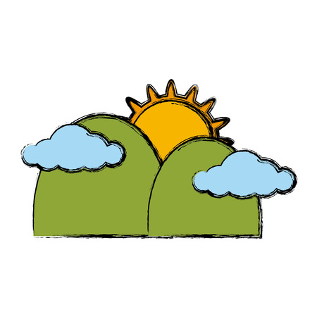 Sun and mountains icon vector illustration graphic design