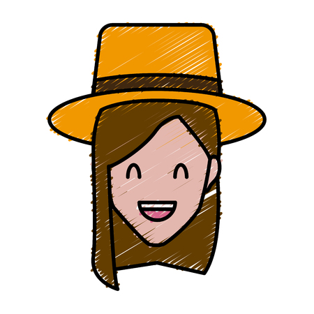 Woman with hat smiling cartoon icon vector illustration graphic design Illustration