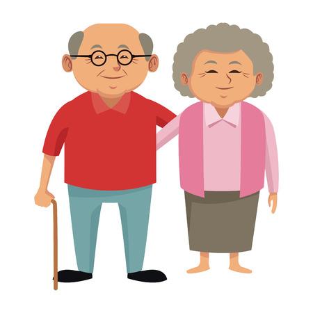 Śliczni dziadkowie dobierają się kreskówki ikony wektorowego ilustracyjnego graficznego projekt