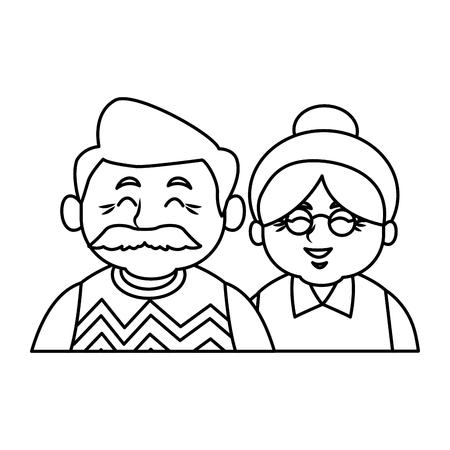 Nette Großeltern verbinden Karikaturikonenvektor-Illustrationsgrafikdesign