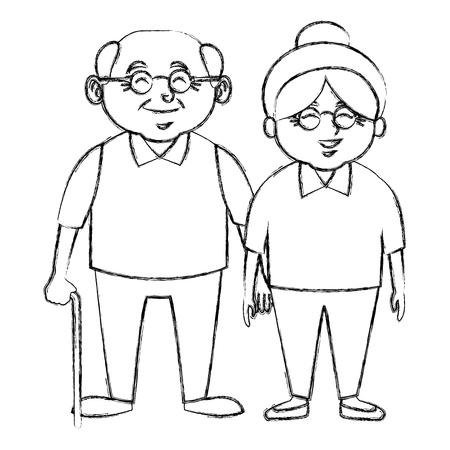 かわいい祖父母カップル漫画アイコン ベクトル イラスト グラフィック デザイン  イラスト・ベクター素材