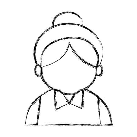 かわいいおばあちゃん漫画アイコン ベクトル イラスト グラフィック デザイン