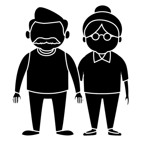 mature adult: Cute grandparents couple cartoon icon vector illustration graphic design