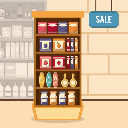 mujer en el supermercado: Supermarket sale stand icon vector illustration graphic design Vectores