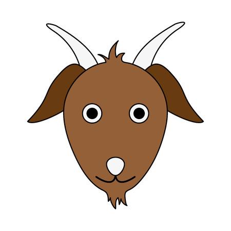simple life: goat animal face cartoon icon image vector illustration design