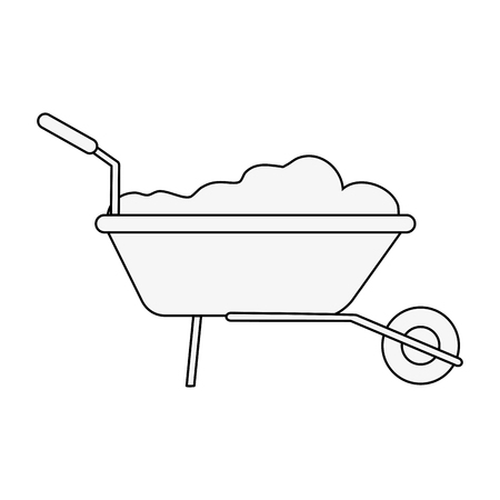 wheelbarrow with construction material tool icon image vector illustration design