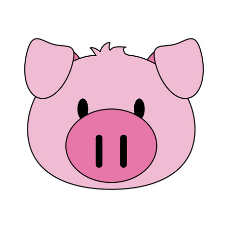 pig animal face cartoon icon image vector illustration design Illustration