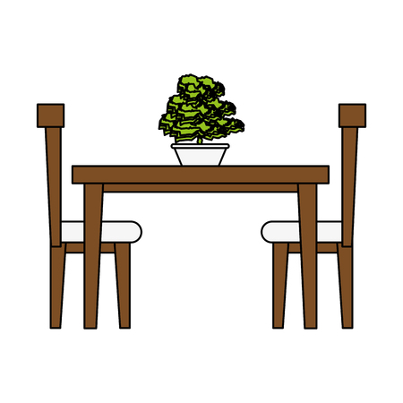 dining table with chairs frontview furniture icon image vector illustration design Illustration