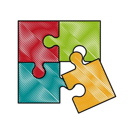 Puzzle pieces symbol icon vector illustration graphic design