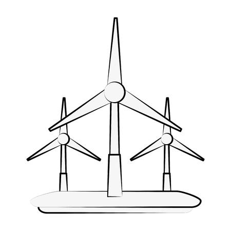 environmental contamination: Wind turbines energy icon vector illustration graphic design