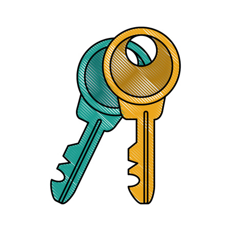 residential homes: Door keys isolated icon vector illustration graphic design