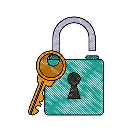 Padlock and key icon vector illustration graphic design