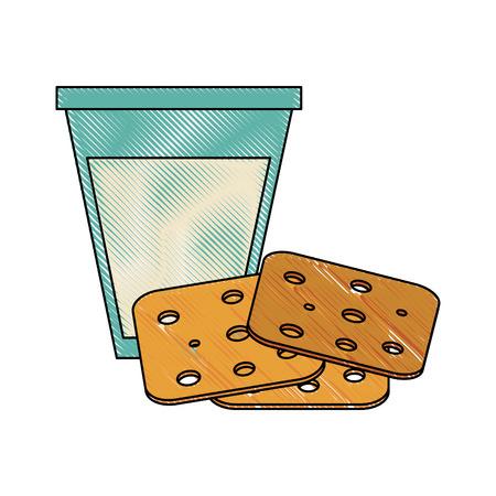Milk and cookies icon vector illustration graphic design Illustration