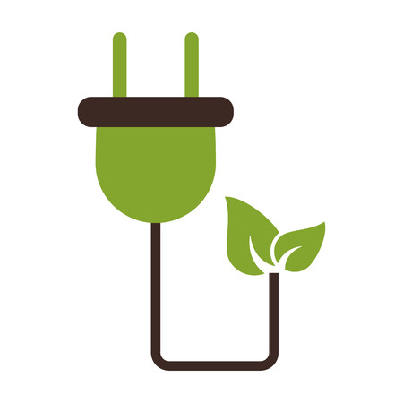 A plug with leaves eco friendly icon image vector illustration design