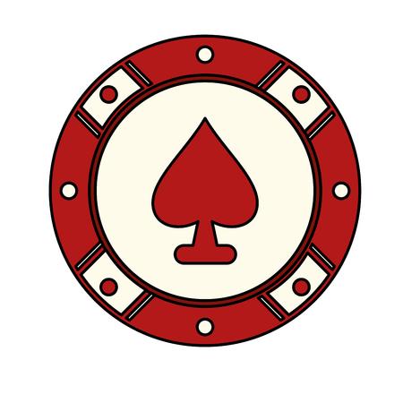 Chip with spade, casino icon image, vector illustration design Çizim