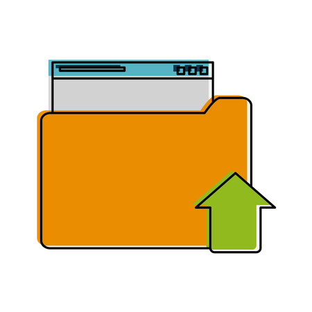 onderwijs: file folder with upload arrow icon image vector illustration design