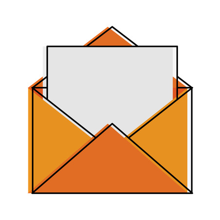open message envelope with outcoming document icon image vector illustration design