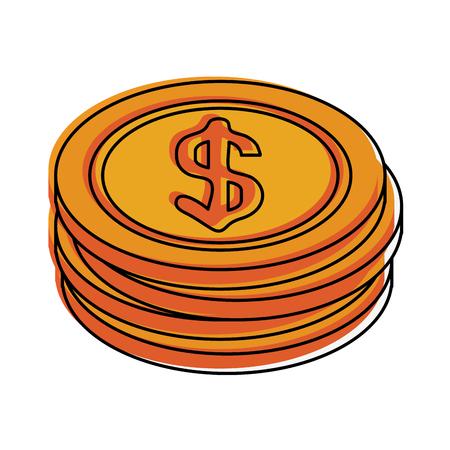 forme: A dollar coins icon image vector illustration design Illustration