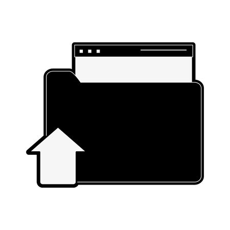 onderwijs: A file folder with upload arrow icon image vector illustration design  black and white